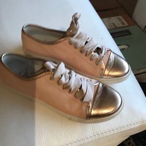 New GALLUCCI  Pink/Gold LeatherSneakers s 38 ITALY